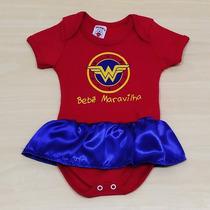 Body Divertido Bebê Mulher Maravilha Com Saia Fantasia