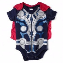Body Thor Com Capa Fantasia Bebê Super Heroi Marvel Comics