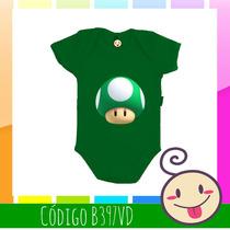 Body Cogumelo Verde Mario Criança Estampado Roupinha Barata