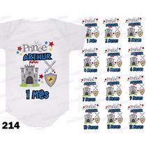 Kit 12 Body Mesversario Mes A Mes Príncipe Personalize Nome