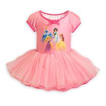 Princesas Body Com Saia Tutu Tule Balé Disney Rosa 5/6 Anos