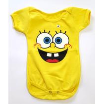 Body Do Bob Esponja Estampado Para Bebê - 100% Algodão