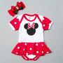 Body Minnie Com Laço Festa De Mêsversário Do Bebê, Fantasia