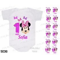Kit 12 Body Mesversario Minnie Disney Bebê Personalize Nome