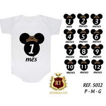 Body Minnie Mickey Bori Infantil Kit 12 Unid, Mesversario