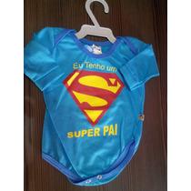 Body Infantil, Masculino, Super Pai, Cor Azul, Tamanho P.