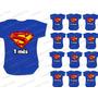 Body Super Man Herois Bebe Mês A Mês Mesversario Kit Com 12