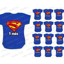 Body Super Man Infantil Mês A Mês Mesversario Herois Kit 12