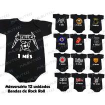 Body Banda De Rock Kit 12 Body Infantil Mês Amês Mesversario