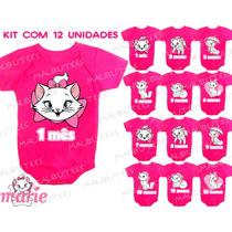 Kit 12 Body Infantil Mês A Mês Mesversario Gata Marie