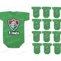 Kit 12 Body Infantil Mês A Mês Mesversario Time Fluminense