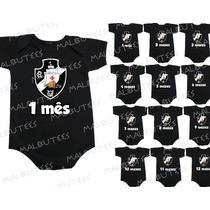 Kit 12 Body Infantil Mês A Mês Mesversario Time Vasco Gama