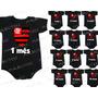 Flamengo Kit 12 Body Infantil Mês A Mês Mesversario Time