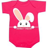Body Minha Primeira Pascoa - Happy Easter - Coelho - Menina