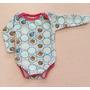 Body Bebê Menina Em Algodão Manga Longa Estampa Cupcake