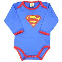 Body Infantil Bebê Super Homem Manga Longa