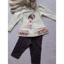 Conjunto Blusa Creme E Legging Cotton Vinho Have Fun Hf0095