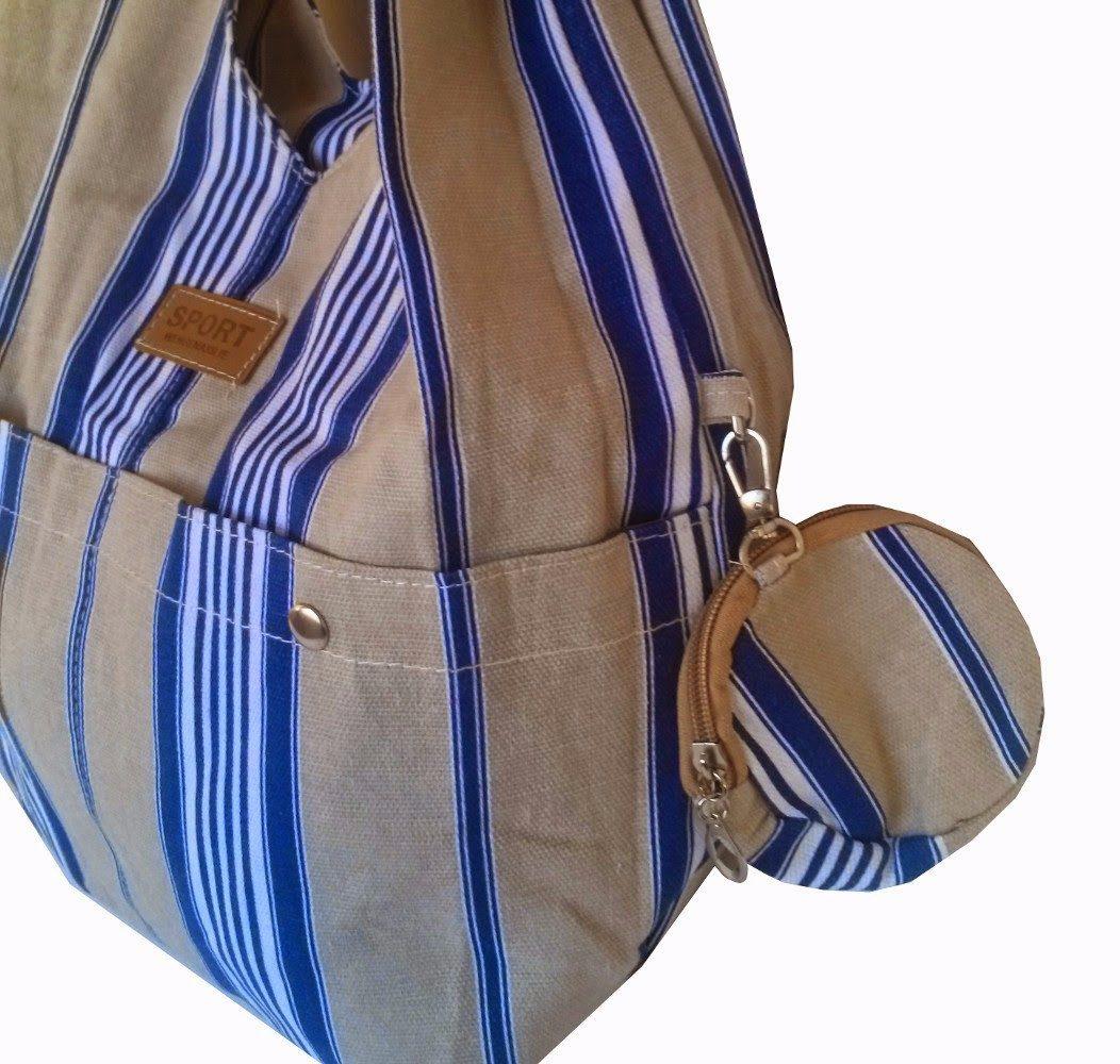 Bolsa De Ombro De Lona Feminina : Bolsa feminina listrada de tecido car interior design
