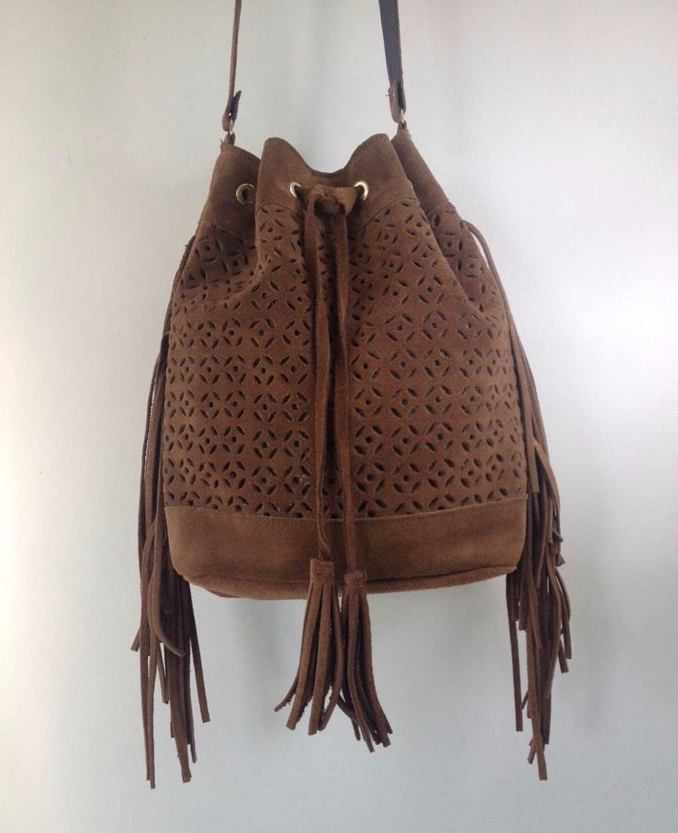 Bolsa De Couro Tipo Saco : Bolsa feminina tipo saco de franja caramelo r no