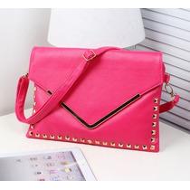 Bolsa Feminina Importada Clutch Envelope Spikes Pink Salmao