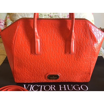 Bolsa Victor Hugo Couro Laranja Modelo New Corsa Nova...!!!