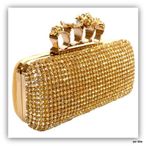 Bolsa Clutch Dourada Anéis Caveira Estilo Alexander Mcqueen