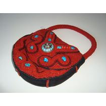 Bolsa Mão Tecido Bordada Miçangas Vermelho Coral Turquesa