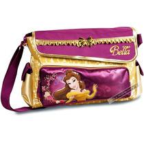 Bolsa Pasta Disney Bella Dourada Transversal Carteiro Bela