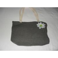 Bolsa Em Linho Verde / Flor Branca Com Ziper