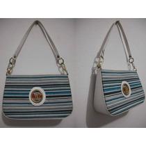Bolsa Pequena De Mão Listrada Azul Branco, Usado Bom Estado
