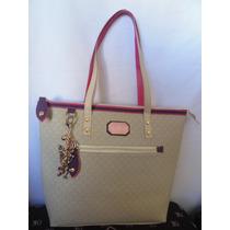 Bolsa Victor Marfim Com Detalhes Pink E Violeta Premium.
