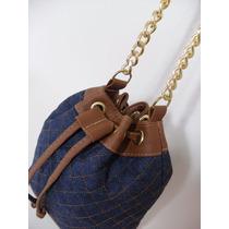 Bolsa Feminina Tipo Saco Pequena Tiracolo Jeans+ Couro Sint.