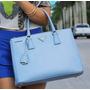 Bolsas Prda Couro Saffiano Azul Clara