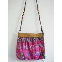 Bolsa Acessorio Palha Estampada Boho Hippie Wayuu Floral