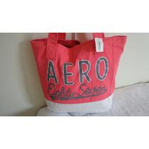 Bolsa De Lona Da Aeropostale Rosa E Branco 100% Original