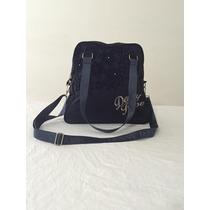 Bolsa Grande Azul Feminino Em Tecido Lona ,marca: Denny Rose
