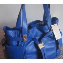 Bolsa Azul Royal Mk Detalhes Dourados