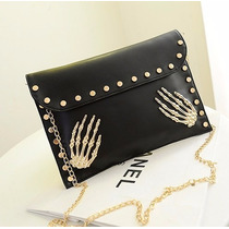 Bolsa Envelope Clutch Caveira Spike Rock Punk Pronta Entrega