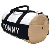 Bolsa Tommy Hilfiger Creme Com Branco Original Duffle