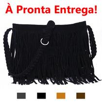 Bolsa Com Franja Couro Camurça Ecológico - Pronta Entrega!