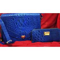 Kit Bolsa + Carteira Couro 100% Legitimo Marca Sifra Azul
