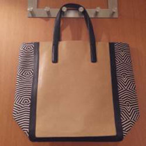 Bolsa Shopper Zara Marrom E Preta Geometria!! Linda!!!