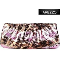 Bolsa Arezzo Clutch Marrom Rosa Mão Couro Legítimo Original