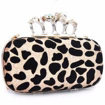 Bolsa Feminin Clutch Animal Print Onça Prata Dourado Festa