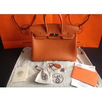 Luxuosa E Autêntica Bolsa Hermès Birkin 35 Mandarin - Linda!