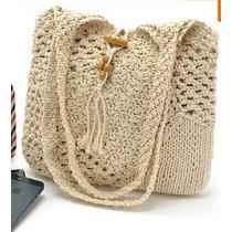 Bolsa Crochet Nude Feita À Mão Artesanal Moda Couro Praia