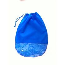 Saco Para Sapatos Em Tnt Azul C/ Visor Plástico - Kit C/ 50u