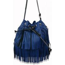 Bolsa Feminina Tipo Sacola Com Franjinhas Azul