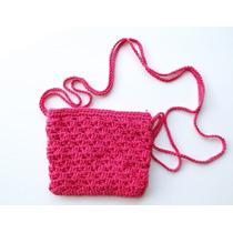 Bolsa Em Crochê De Lado Na Cor Rosa Ultima Moda Aproveite!!