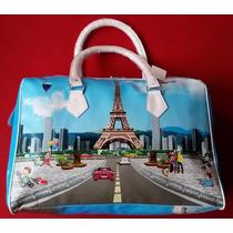 Bolsa De Mão Paris Feminina Viagem Sacola Mala Mochila Torre